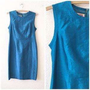 Vintage Silk Classic Blue Sheath Dress Career 8